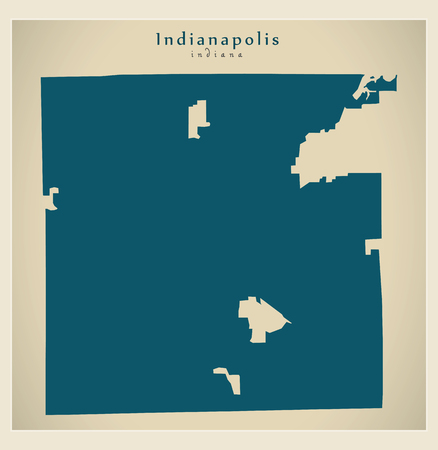 Modern pap of Indianapolis Indiana city of the USA