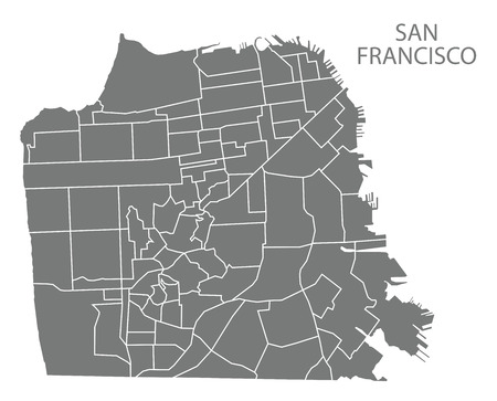 San Francisco city map with neighbourhoods grey illustration silhouette shape Çizim