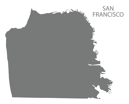 San Francisco city map grey illustration silhouette shape