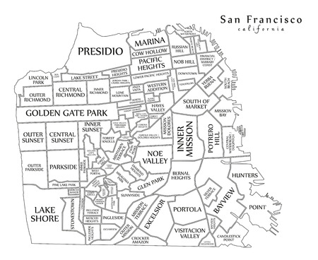 Modern Map - San Francisco city of the USA