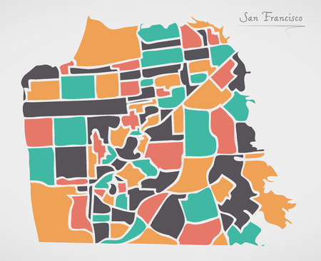 San Francisco Map with neighborhoods and modern round shapes