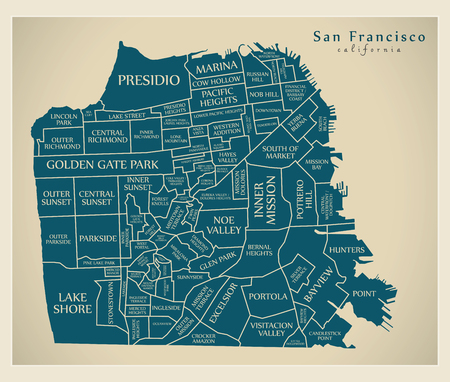 Modern City Map - San Francisco city of the USA with neighbourhoods and titles Illustration