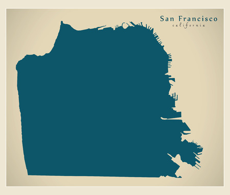 Modern City Map - San Francisco city of the USA 向量圖像