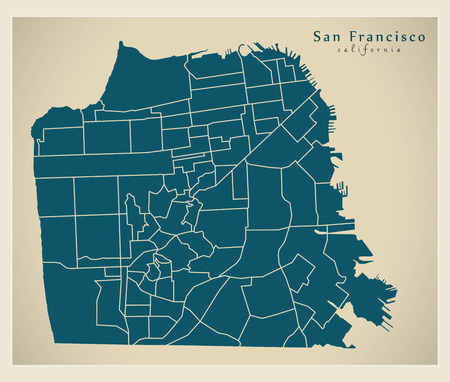 Modern City Map - San Francisco city of the USA with neighbourhoods 向量圖像