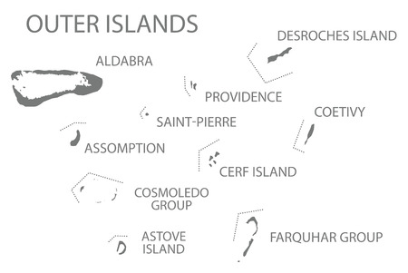 Outer Islands Seychelles Map grey illustration silhouette