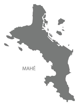 Mahe Seychelles Map grey illustration silhouette 일러스트