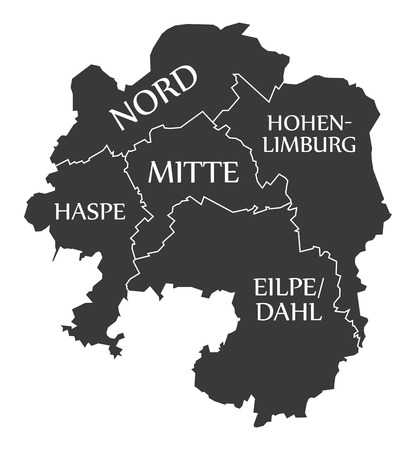 Hagen city map Germany DE labelled black illustration
