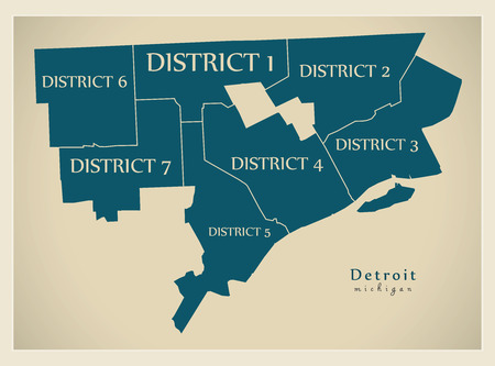 Modern City Map - Detroit Michigan city of the USA with districts and titles