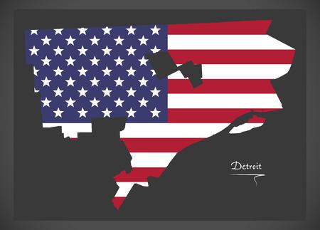 Detroit Michigan map with American national flag illustration  イラスト・ベクター素材