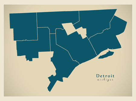 Modern City Map - Detroit Michigan city of the USA with districts Ilustração