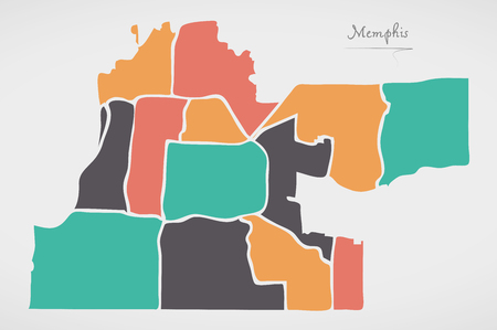 Memphis Tennessee Map with neighborhoods and modern round shapes Illustration