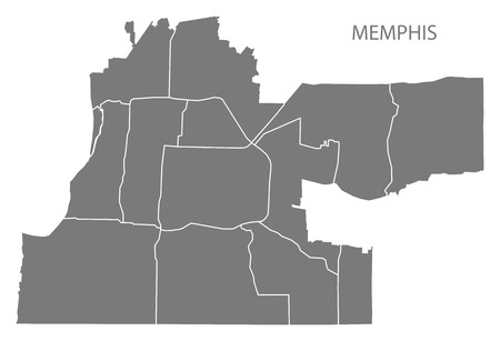 Memphis Tennessee city map with neighborhoods grey illustration silhouette shape
