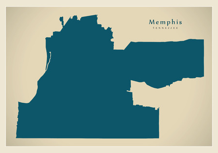 Modern City Map - Memphis Tennessee city of the USA