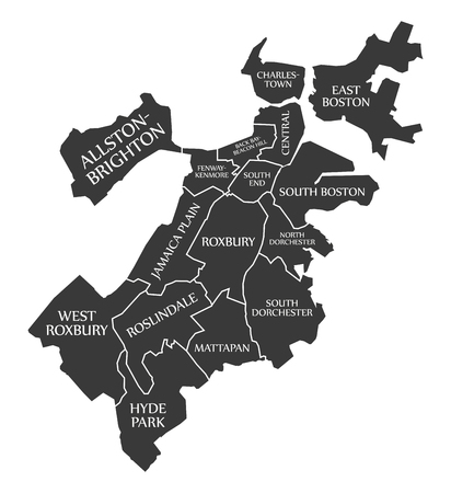 Boston Massachusetts city map with labelled in black illustration.