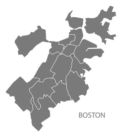 Boston Massachusetts city map with boroughs grey illustration silhouette shape  イラスト・ベクター素材