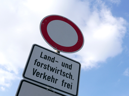 Agriculture traffic sign in German language