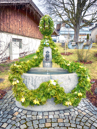 Traditional German easter fountain Stock Photo