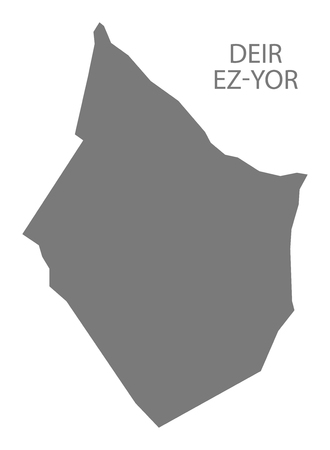 Deir Ez-Yor map of Syria grey illustration shape