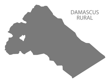 Damascus Rural map of Syria grey illustration shape Vectores