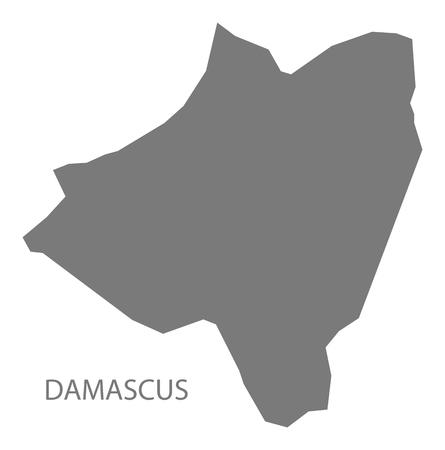 Damascus map of Syria grey illustration shape