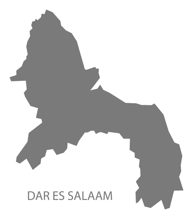 Dar es Salaam map of Tanzania grey illustration shape Stock Illustratie