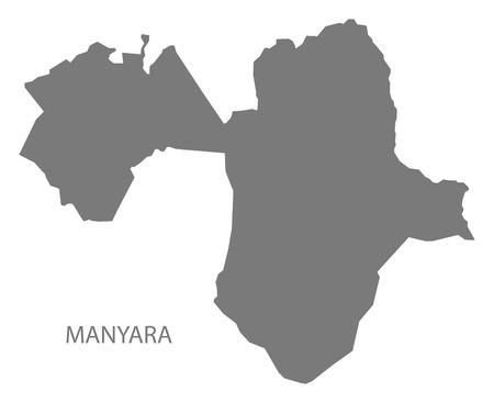 Manyara map of Tanzania grey illustration shape Ilustração