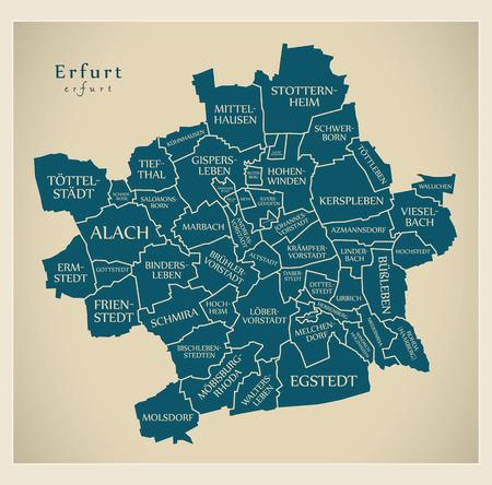 Modern City Map - Erfurt city of Germany with boroughs and titles DE Ilustração