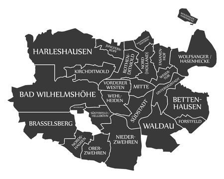Kassel city map Germany DE labelled black illustration
