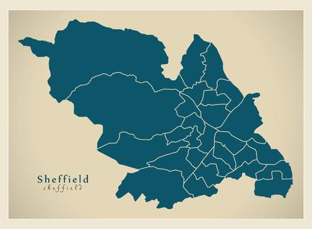 Modern City Map - Sheffield city of England with wards UK.