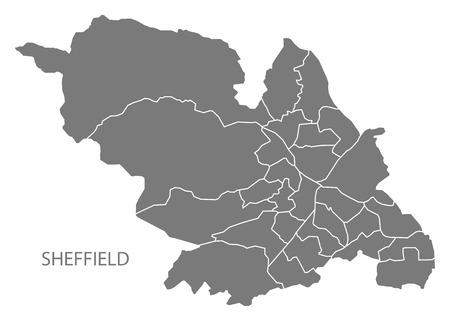 Sheffield city map with wards grey illustration silhouette shape. Illustration
