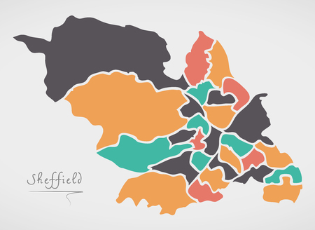 Sheffield Map with wards and modern round shapes illustration.