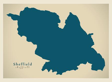 Modern City Map - Sheffield city of England UK illustration.