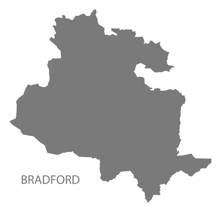 Bradford city map grey illustration silhouette shape