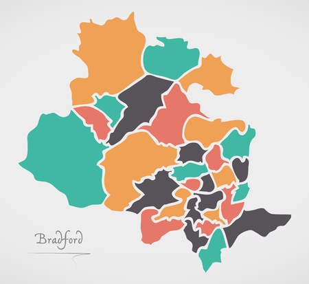 Bradford Map with boroughs and modern round shapes