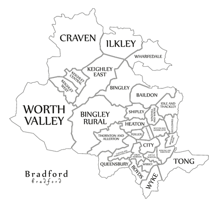 Modern City Map - Bradford city of England with wards and titles UK outline map Illustration