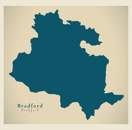 Modern City Map - Bradford city of England UK