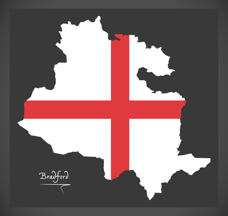 Bradford map with English national flag illustration