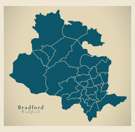 Modern City Map - Bradford city of England with wards UK Illustration