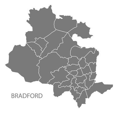 Bradford city map with wards grey illustration silhouette shape