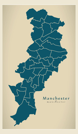 Modern City Map of Manchester city of England 일러스트