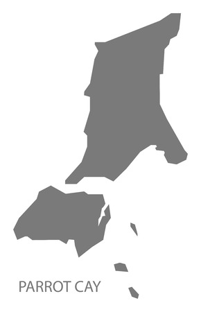 Parrot Cay map of Turks and Caicos Islands grey illustration shape