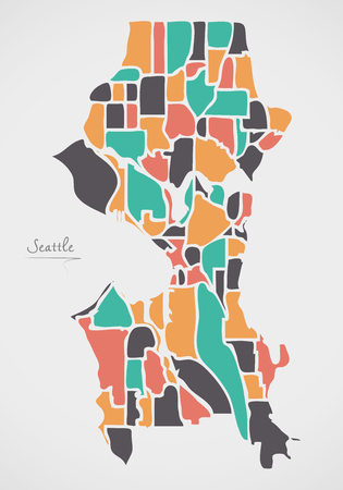 Seattle Washington Map with neighborhoods and modern round shapes