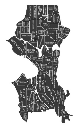Seattle Washington city map USA labelled black illustration