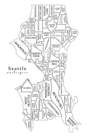Modern City Map - Seattle Washington city of the USA with neighborhoods and titles outline map
