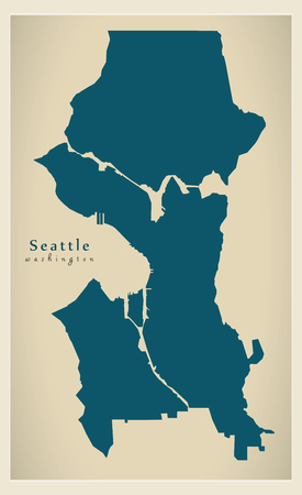 Modern City Map - Seattle Washington city of the USA