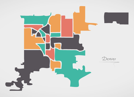 Denver Colorado Map with neighborhoods and modern round shapes Çizim