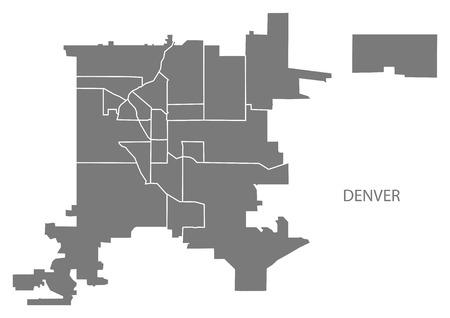 Denver Colorado city map with neighborhoods grey illustration silhouette shape