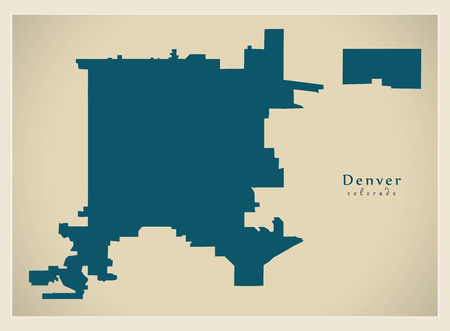 Modern City Map - Denver Colorado city of the USA