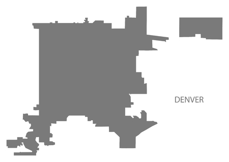 Denver Colorado city map grey illustration silhouette shape