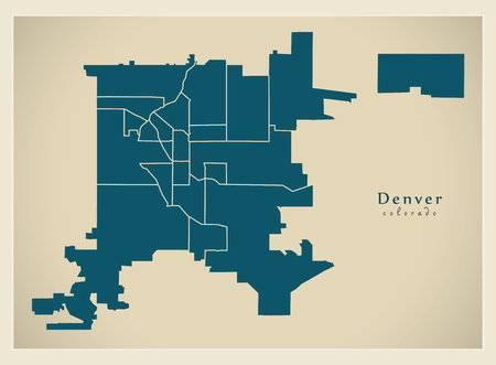 Modern City Map - Denver Colorado city of the USA with neighborhoods Illusztráció
